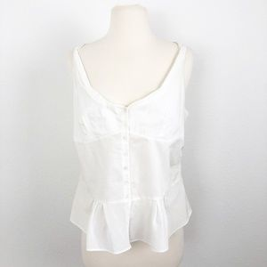 Margaret O'leary Peplum Button Down Tank Size M